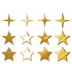 set metallic golden stars vector image