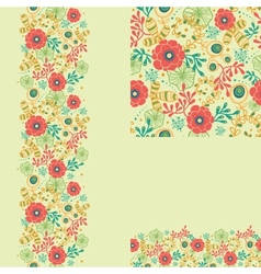 set spring flowers seamless pattern and borders vector image