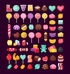 set valentine candies vector image