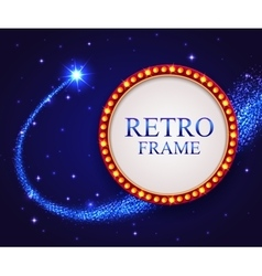 Shining retro frame with falling star Night blue vector
