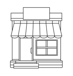 Storefront building shop facade front view vector