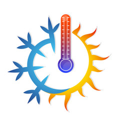 sun snowflake and thermometer vector image