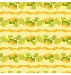 Sunflower border seamless pattern on light yellow vector