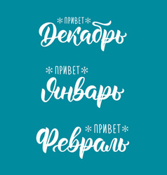 trendy hand lettering set of winter months in vector image