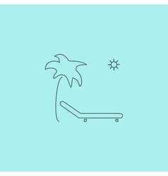 Tropical resort beach Sunbed Chair - icon vector image
