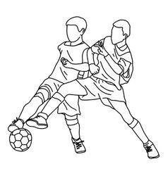 two boys fighting soccer together vector image