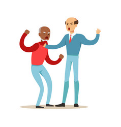two mature men characters fighting and quarelling vector image