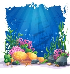 Underwater world with coral reef vector