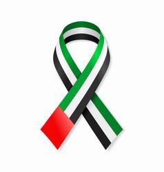 united arab emirates flag stripe ribbon on white vector image