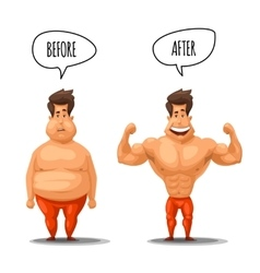 Weight loss Man before and after diet vector