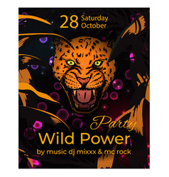 Wild power party slogan poster with amur leopard vector