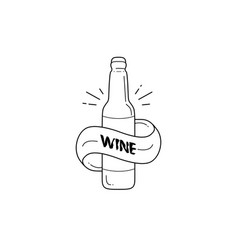 Wine bottle logo designs with mono line and line vector