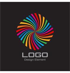 Colorful Bright Rainbow Spiral Logo on Black Backg vector image vector image