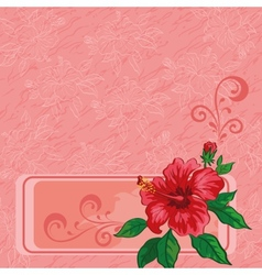 Floral background hibiscus and contours vector image vector image