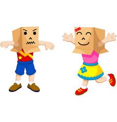 funny children cartoon playing cardboard vector image
