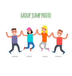 Group jump photo flat design characters vector