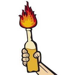 hand holding a molotov cocktail vector image