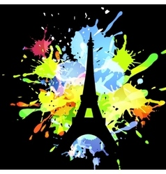 silhouette of eiffel tower on inkblot background vector image vector image