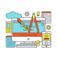 Thin Line Flat Design Concept for Web Design vector image