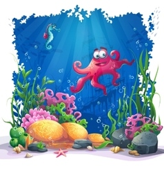 Underwater octopus coral and colorful reefs and vector image