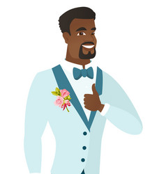 Young african-american groom giving thumb up vector