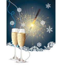 Champagne and sparkler2 vector image