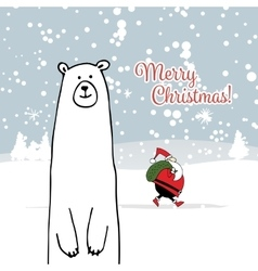 Christmas card with white santa and white bear vector image