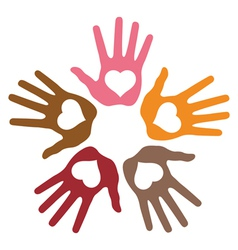 Circle of 5 loving hand prints vector image