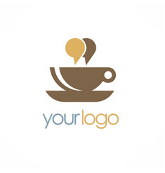 cup coffee chat talk logo vector image