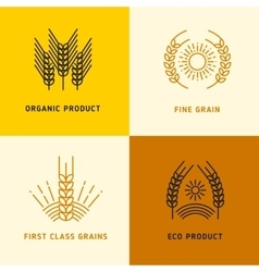 Harvesting logos with wheat grains vector image vector image