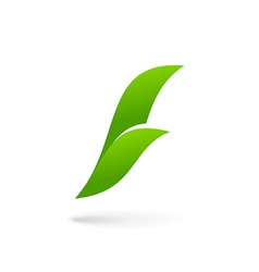 Letter F eco leaves logo icon design template vector image
