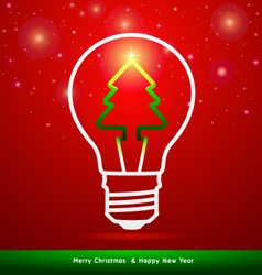 Merry Christmas tree in light bulb vector image