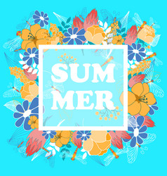 summer poster with floral and fauna elements vector image vector image