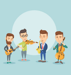 band of musicians playing on musical instruments vector image vector image