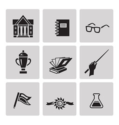 Education icon set Black sign on gray background vector image