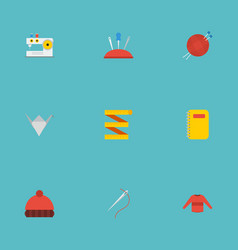 Flat icons skein pincushion copybook and other vector