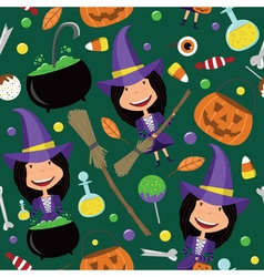 Halloween background with teenager and magic tools vector image vector image