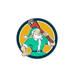Muscular Santa Plumber Monkey Wrench Circle vector image vector image