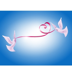 Pair of doves with heart vector image vector image