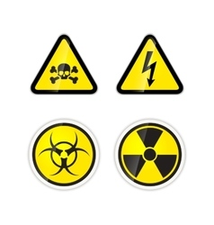 Set of four warnings signs for high voltage vector image