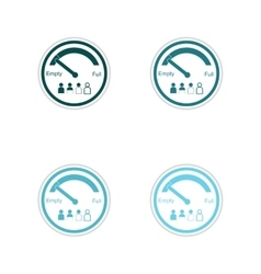 Set of paper stickers on white background staff vector