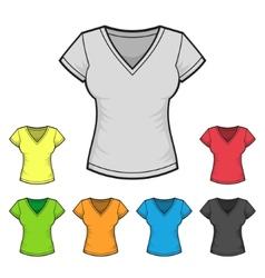 Womens V-neck T-shirt Design Template Color Set vector image vector image