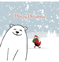 Christmas card with white santa and white bear vector image vector image