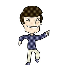 comic cartoon happy man pointing vector image vector image