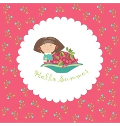 Cute girl and bowl of cherries Hello summer vector image