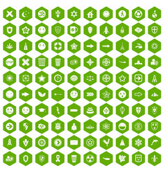 100 emblem icons hexagon green vector