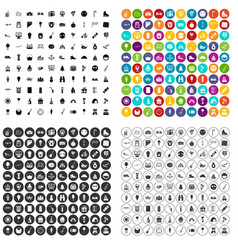 100 school festival icons set variant vector