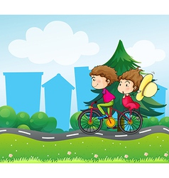 A bike with two people vector image