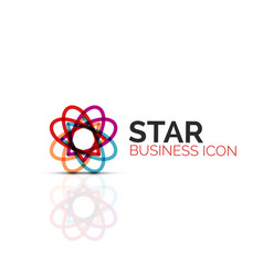Abstract flower or star minimalistic linear icon vector
