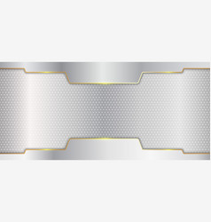 abstract silver metallic stripes with gold line vector image